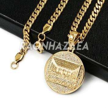 Hip Hop Iced Stainless Steel Gold Medallion Last Supper 3D Pendant W Cuban Chain