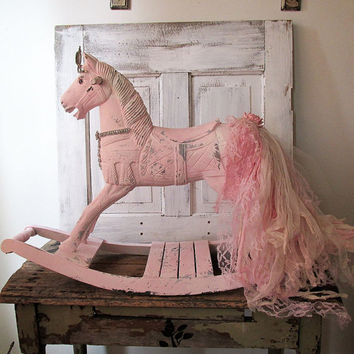 Large wooden rocking horse shabby cottage chic pink w/ cream romantic vintage fabric lace tail w/ rhinestone crown Christmas or home decor