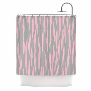 "Wildlife ""Pink Animal Print 12"" Gray Painting Shower Curtain"