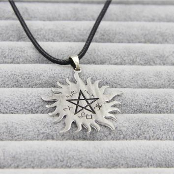 2015 Fashion Jewelry Silver Charm Supernatural Dean necklace For Men And Women