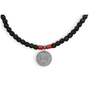 """20"""" Olive Wood and Coral Men's Fashion Necklace"""