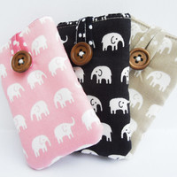 Padded Case / Pocket / Sleeve for iPod Nano 7th Generation - Made in cute & kitsch elephant print fabric - 3 colours to choose