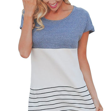 Light Blue Color Block Striped Long Top