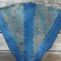 Sz 16 Old Navy Bell Bottoms with Extra Soft Mint Chocolate Tapestry flares Handmade by The Hippie Patch