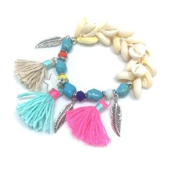 New Handcraft stone bracelets star tassel charm bracelets bangle sea beach shell Bead Bohemia Bracelets for summer women