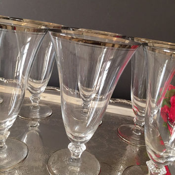 Silver Rimmed Crystal Ice Tea Goblets, Platinum Band Goblets,Set of 8 Crystal Stemware,Vintage Glassware, Excellent Condition, Bridal Gift