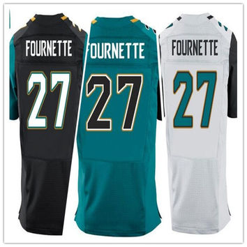 2017 Draft Picks No.4 New Mens #27 Jacksonville Leonard Fournette Jersey Black White Teal Leonard Fournette Jerseys Sports Shirt