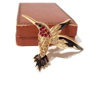 Hummingbird Rhinestone Enamel Brooch, Sphinx 9997, Multi Color Pave Set Stones, Purple Enamel, Textured Gold Tone, Figural, Vintage 1980s