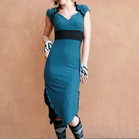 Organic Teal Striped Sexy Comfortable Fitted Dress