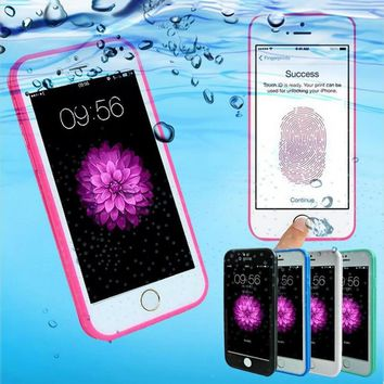 Waterproof Soft Silicon TPU Touch Back Cover For iPhone 5 5S SE 6 6S 6 plus 6S plus 7 Plus 8 Plus X Diving Case