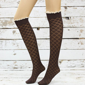 Soft Micro Fishnet Knee Highs lace socks sexy leg warmer girly boot socks boot cuffs women's accessory birthday gifts knee socks