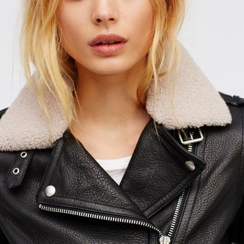 Free People Vegan Moto With Detachable Fur Shawl