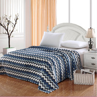 Aztec Plush Micro Fleece Blanket - Blue Chevron (Queen)