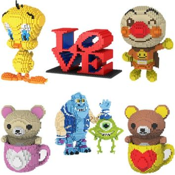 Mini Qute POP huge cartoon Valentine's Day gift LOVE bear bird Anpanman building blocks brick action figures educational toy