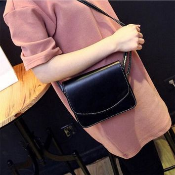 Women Leather Small Simple  Crossbody Bag Flap Sling Shoulder Bags Lady Messenger Handbags New 2017 Fashion Preppy Style Purse