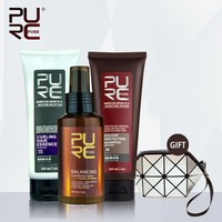 PURC 3-Piece Hair Care Set - Color Protecting Shampoo / Curl Enhancing Conditioner / Balancing Argon Oil Spray