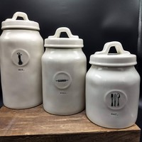 Rae Dunn Mix, Roll, Eat Icon Canister Set