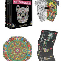 Adult Coloring Book Set of 3 Mandalas Animals Landscapes