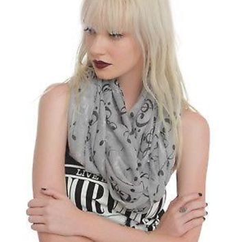 Licensed cool Music Clef Heart Notes Neck Scarf Infinity Lightweight Sheer Black Grey White