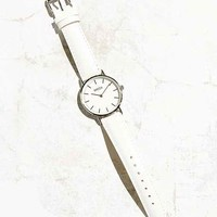 Breda Simple White Leather Strap Watch