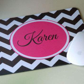 Personalized Monogram Computer Mousepad for Office Desk + Chevron + Hot Pink
