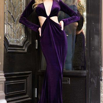 Side Cut Out Velvet Gown 26509