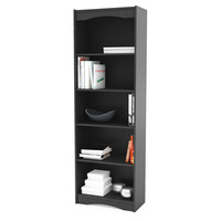 Contemporary Black Bookcase with 5 Shelves and Curved Accents
