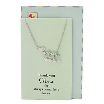 Angelique Mother and Daughter Necklace with Mom and Baby Birds Pendant, Gifts for Women, Silver Tone