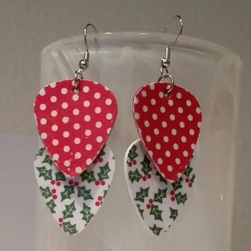 Guitar Pick Earrings - Betsy's Jewelry- Christmas  Jewelry - Holiday  - Holly  & Berries - Polka Dots - Upcycled Jewelry