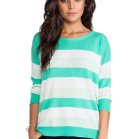 DUFFY Striped Cashmere Pullover Sweater in Green
