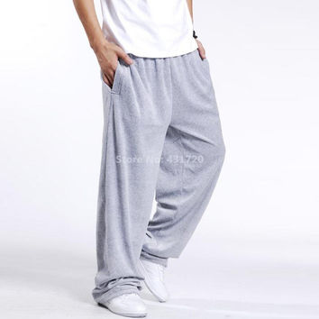 Men Hip Hop Sweatpants Plus Size XXL 3XL Loose Casual Dancer Joggers Wide Legs Pant Baggy Velvet Exercise Trouser Ashant