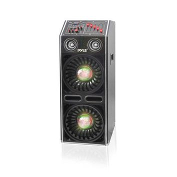 Disco Jam 2 Bluetooth Active Powered Speaker System, Flashing DJ Lights, Dual 10-Inch Woofers, Dual 3-Inch Tweeters, USB/SD Memory Card Readers, Aux (3.5mm) Input, 1500 Watt (Works with Passive Speaker Model: PSUFM1070P)