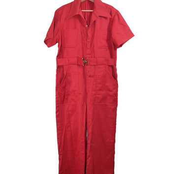 Vintage Mechanics Jumpsuit Vintage Jumpsuit Red Jumpsuit Red Coveralls Red Mechanics Coveralls Racing Jumpsuit Mens Workwear Size 46 XL