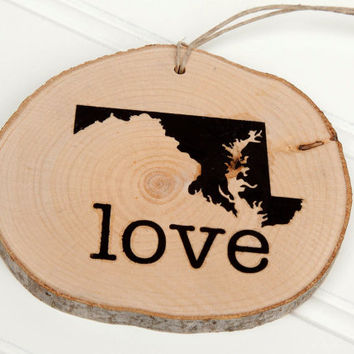 Maryland Love state shape Maple wood slice ornaments Set of 4 .  Wedding favor, Bridal Shower, Country Chic, Rustic, Valentine Gift