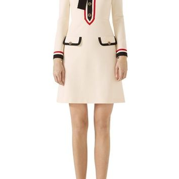 Gucci Bow Neck Piped Jersey Dress   Nordstrom