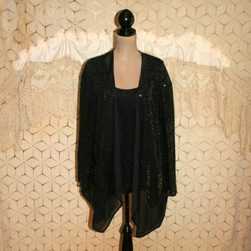 Black Cocktail Blouse 3X Plus Size 22 Sequin Top Evening Formal Black Blouse and Matching Jacket Dressy Tops Womens Vintage Clothing