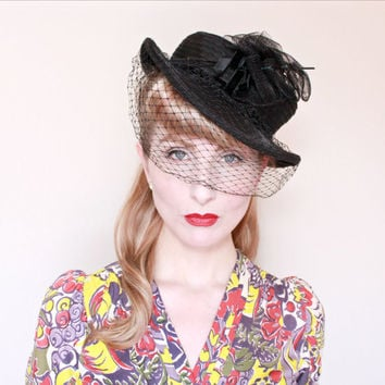 1940s Hat / VINTAGE / 40s Hat / Black / Sheer / Nylon / Horsehair trim / Veil / PRETTY