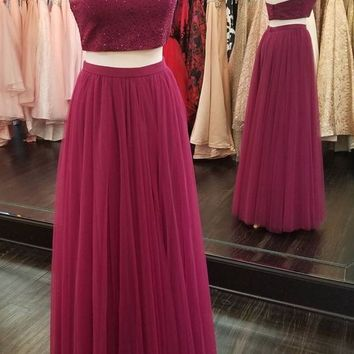 Halter Neck Two Piece Top Beaded Long Prom Dress Formal Evening Gowns PDS0449