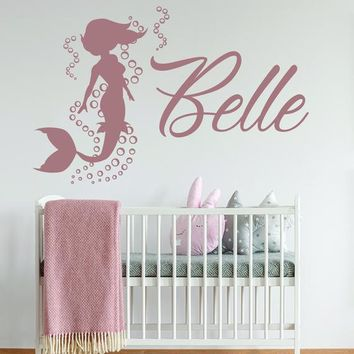 Custom Name Mermaid Lover Cute Vinyl Sticker - Monogram Kit Yeti Ariel Girl Gift Decal - Contour Cut Art Home Room Decor Nursery Kids Mural