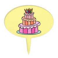 Yellow Pink Lavender Cake Candles Oval Cake Pick