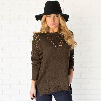 Boundary Point Knit Sweater In Olive