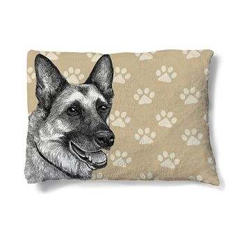 "German Shepherd Sketch 30"" x 40"" Fleece Dog Bed"