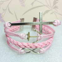 Cross bracelet-Infinity Bracelet-Love Bracelet, Pink Wax Cords and Pink braid bracelet.
