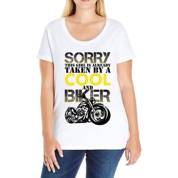 Sorry This Girl Is Already Takenby a Cool And Biker Ladies Curvy T-Shirt