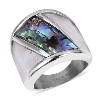 Abalone Shell, White Mother of Pearl Stainless Steel Ring