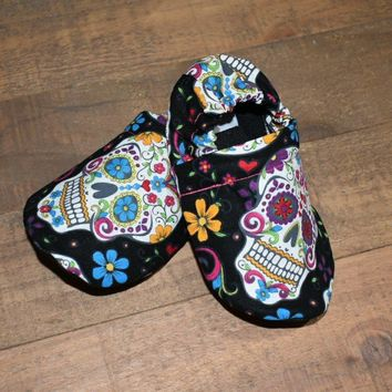 Halloween Colorful Sugar Skull Moccasins