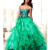 Mac Duggal 2014 Prom Dresses - Peacock Sequin Strapless Sweetheart Tiered Tulle Ruffle Gown