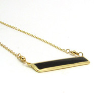 Black bar necklace, black agate jewelry, black rectangle necklace, layering necklace, black geometric jewelry, minimalist necklace