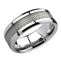 Blue Chip Unlimited - Unique 8mm Titanium & White Carbon Fiber Ring Wedding Band Engagement Ring Fas