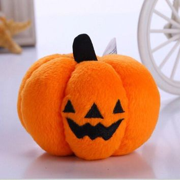 Pet Squeaky Toy Dog Puppy Chew Halloween Plush Pumpkin Sound Trainning Toy Stuff